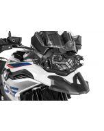 Kryt světlometu z nerezové oceli černý, s rychloupínáním na hlavní světlomet, pro  BMW F850GS / F750GS